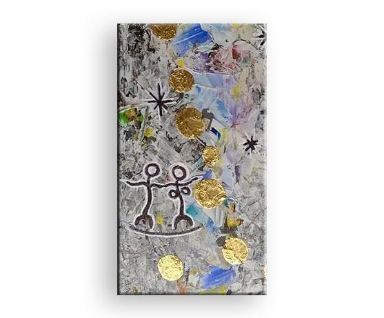 Himmerlsspähre - Gemälde Acrylfarbe mit Gold von Charly Walter Künstler