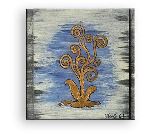 Lebensbaum - Vergoldung,-Mischtechink von Charly Walter Künstler