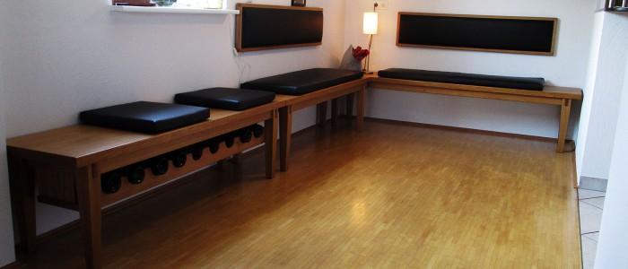 Sitzmöbel über Eck mit Rückenlehne, bezogen mit exklusivem Lederpolster